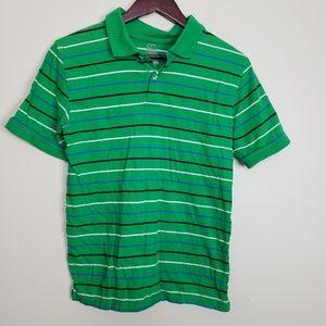 Faded Glory Green Striped Short Sleeve Polo Shirt